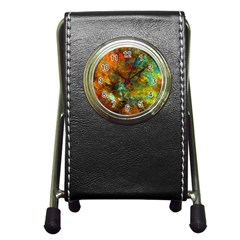 Mixed Abstract Pen Holder Desk Clocks