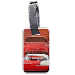 Classic Car Chevy Bel Air Dodge Red White Vintage Photography Luggage Tags (two Sides)