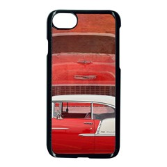 Classic Car Chevy Bel Air Dodge Red White Vintage Photography Apple Iphone 7 Seamless Case (black)