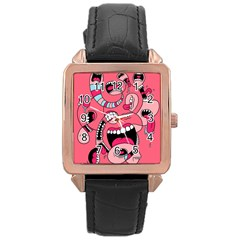 Big Mouth Worm Rose Gold Leather Watch