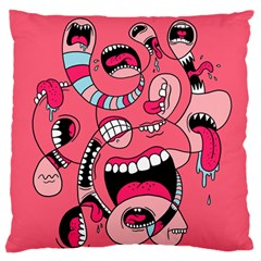 Big Mouth Worm Large Flano Cushion Case (two Sides)