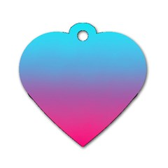 Blue Pink Purple Dog Tag Heart (two Sides)