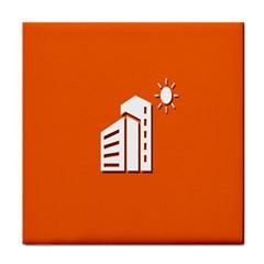 Building Orange Sun Copy Tile Coasters