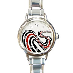 Curving, White Background Copy Round Italian Charm Watch