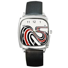 Curving, White Background Copy Square Metal Watch
