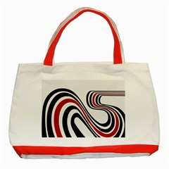 Curving, White Background Copy Classic Tote Bag (red)