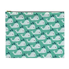 Whale Sea Blue Cosmetic Bag (xl)