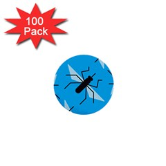 Mosquito Blue Black 1  Mini Buttons (100 Pack)