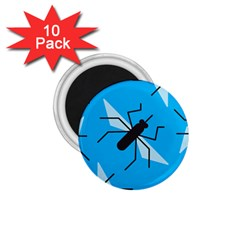 Mosquito Blue Black 1 75  Magnets (10 Pack)
