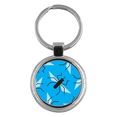 Mosquito Blue Black Key Chains (round)