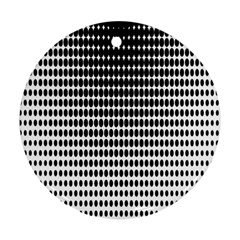 Dark Circles Halftone Black White Copy Round Ornament (two Sides)