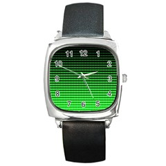 Neon Green And Black Halftone Copy Square Metal Watch