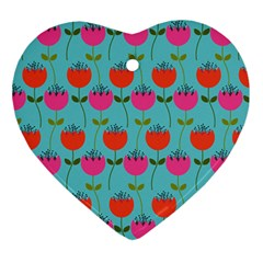 Tulips Floral Flower Ornament (heart)