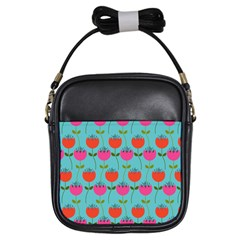 Tulips Floral Flower Girls Sling Bags