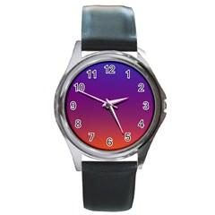 Purple Orange Blue Round Metal Watch