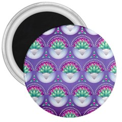 Background Floral Pattern Purple 3  Magnets