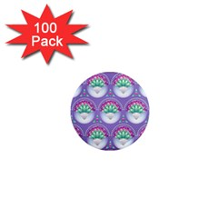 Background Floral Pattern Purple 1  Mini Magnets (100 Pack)