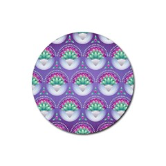 Background Floral Pattern Purple Rubber Coaster (round)