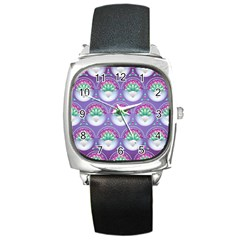 Background Floral Pattern Purple Square Metal Watch