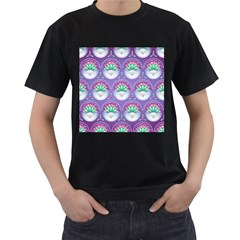 Background Floral Pattern Purple Men s T Shirt (black) (two Sided)