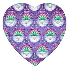 Background Floral Pattern Purple Jigsaw Puzzle (heart)
