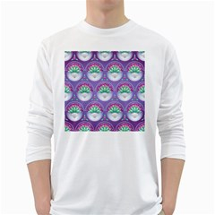 Background Floral Pattern Purple White Long Sleeve T Shirts