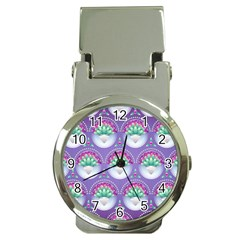 Background Floral Pattern Purple Money Clip Watches