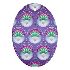 Background Floral Pattern Purple Oval Ornament (two Sides)