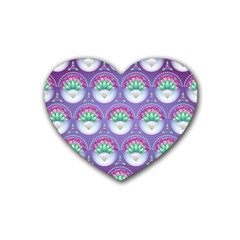 Background Floral Pattern Purple Rubber Coaster (heart)