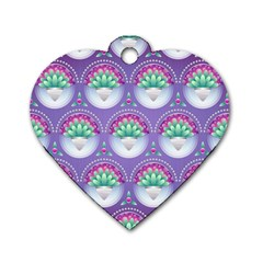 Background Floral Pattern Purple Dog Tag Heart (two Sides)