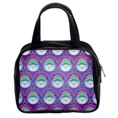 Background Floral Pattern Purple Classic Handbags (2 Sides)