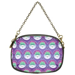 Background Floral Pattern Purple Chain Purses (One Side)
