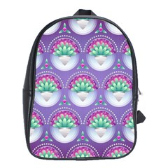 Background Floral Pattern Purple School Bags(large)