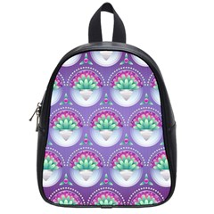 Background Floral Pattern Purple School Bags (small)
