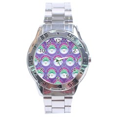 Background Floral Pattern Purple Stainless Steel Analogue Watch