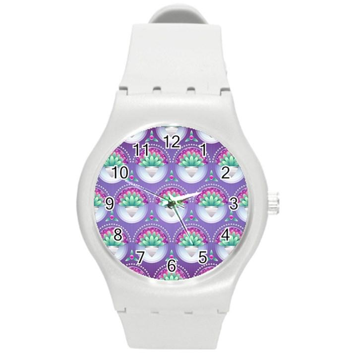 Background Floral Pattern Purple Round Plastic Sport Watch (M)