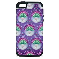 Background Floral Pattern Purple Apple Iphone 5 Hardshell Case (pc+silicone)