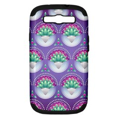 Background Floral Pattern Purple Samsung Galaxy S III Hardshell Case (PC+Silicone)