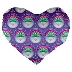 Background Floral Pattern Purple Large 19  Premium Heart Shape Cushions