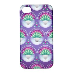 Background Floral Pattern Purple Apple Iphone 4/4s Hardshell Case With Stand