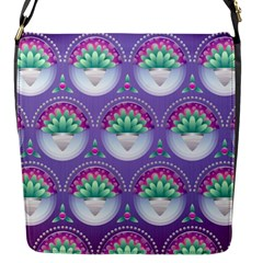 Background Floral Pattern Purple Flap Messenger Bag (s)