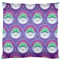 Background Floral Pattern Purple Large Flano Cushion Case (One Side)