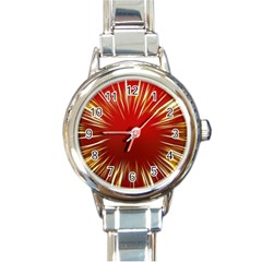 Color Gold Yellow Background Round Italian Charm Watch