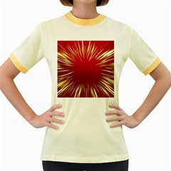 Color Gold Yellow Background Women s Fitted Ringer T Shirts