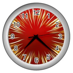 Color Gold Yellow Background Wall Clocks (silver)