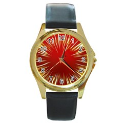 Color Gold Yellow Background Round Gold Metal Watch