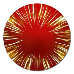 Color Gold Yellow Background Magnet 5  (round)