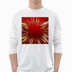 Color Gold Yellow Background White Long Sleeve T-Shirts