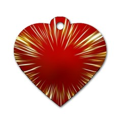 Color Gold Yellow Background Dog Tag Heart (two Sides)