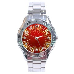 Color Gold Yellow Background Stainless Steel Analogue Watch